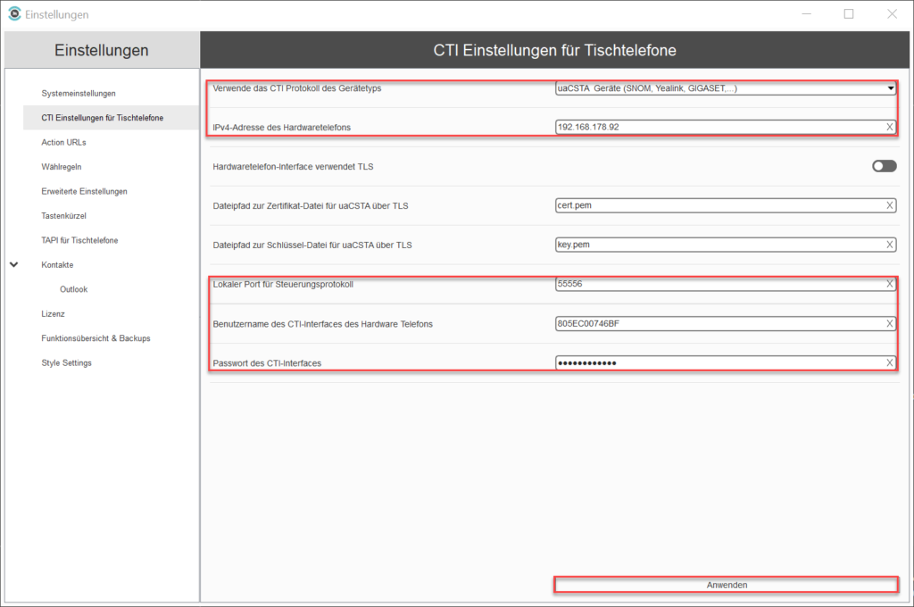 uaCSTA CTI- Settings for desk phones